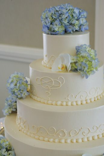 Hydrangea Wedding Cake...need one flower for the top and that is it