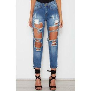 Boyfriend Ripped Jeans Dark Denim