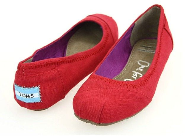 Toms Womens Dancing Flat Shoes Red