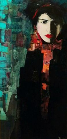 Visage De La Nuit 2005 26x39 by Richard Burlet, Original Painting, Acrilyc on Canvas