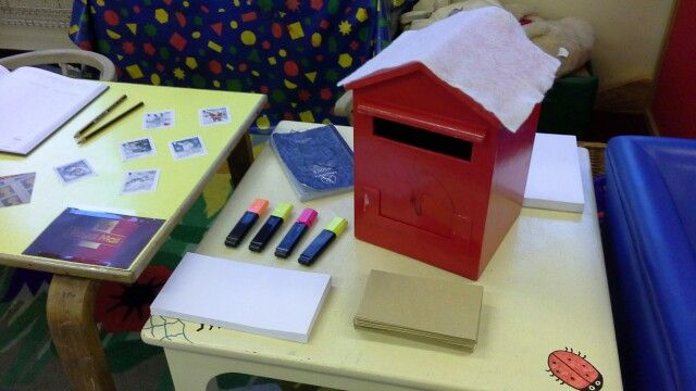 Post office role play with post box, envelopes and marker pens. Maybe write a letter to santa?