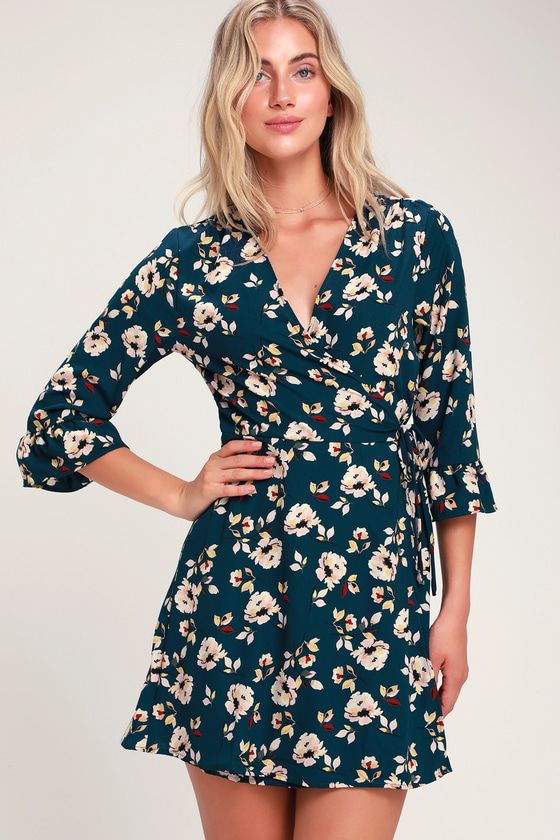2eb6bb6d6c6 Take in a beautiful view while you're out exploring in the LUSH Window View Teal  Blue Floral Print Wrap Dress! Floral wrap dress with cute flounce sleeves.