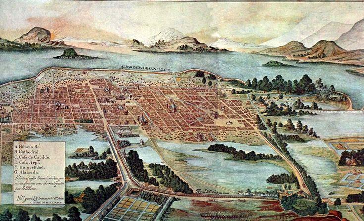 Mexico City around the time of Hasekura's visit. 1628 painting.