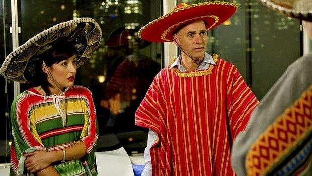 Party time during Season one finale: Nat (Celia Pacquola) (Nat) and Tony (Rob Sitch)