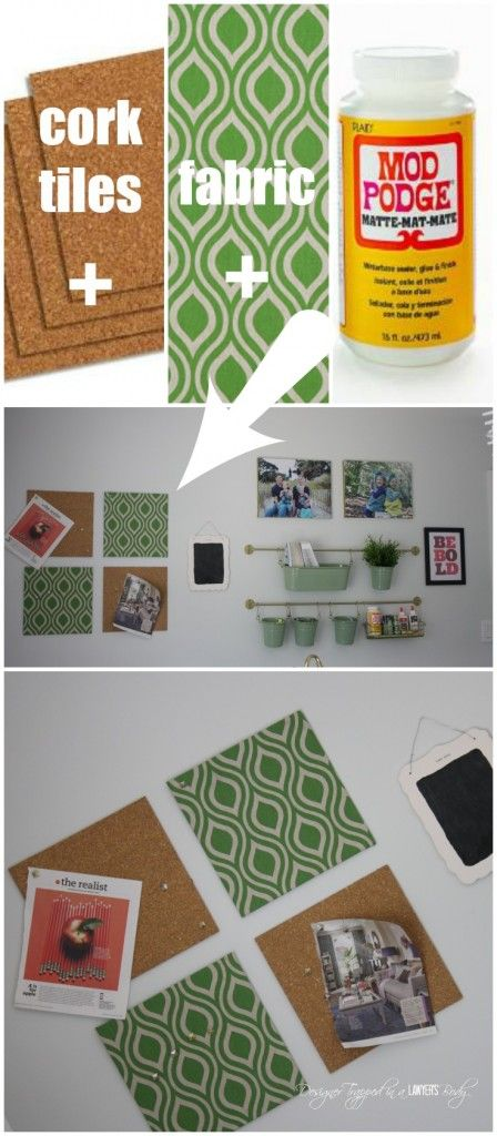 LOVE THIS!  DIY fabric covered cork tiles.  So easy and stylish!  By Designer Trapped in a Lawyer's Body for All Things Thrifty.