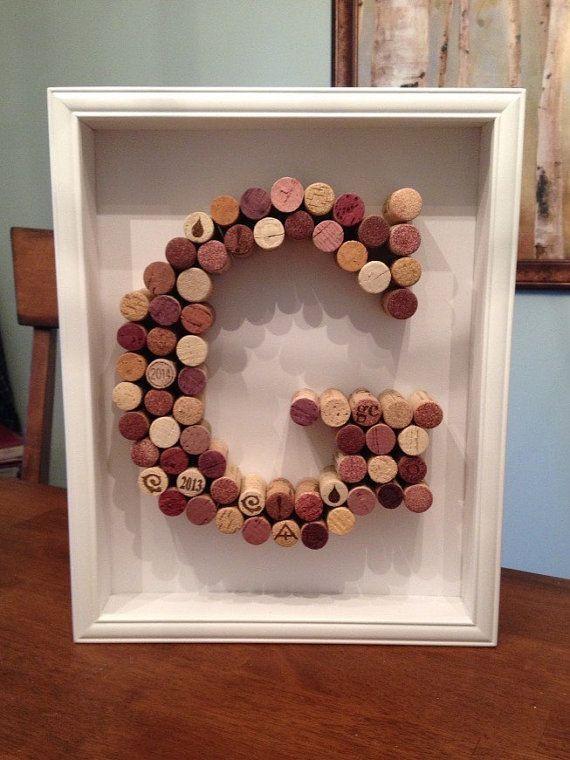 Wine Cork Letter Shadowbox by BurgundyRibbonDesign on Etsy @VinoPlease #VinoPlease