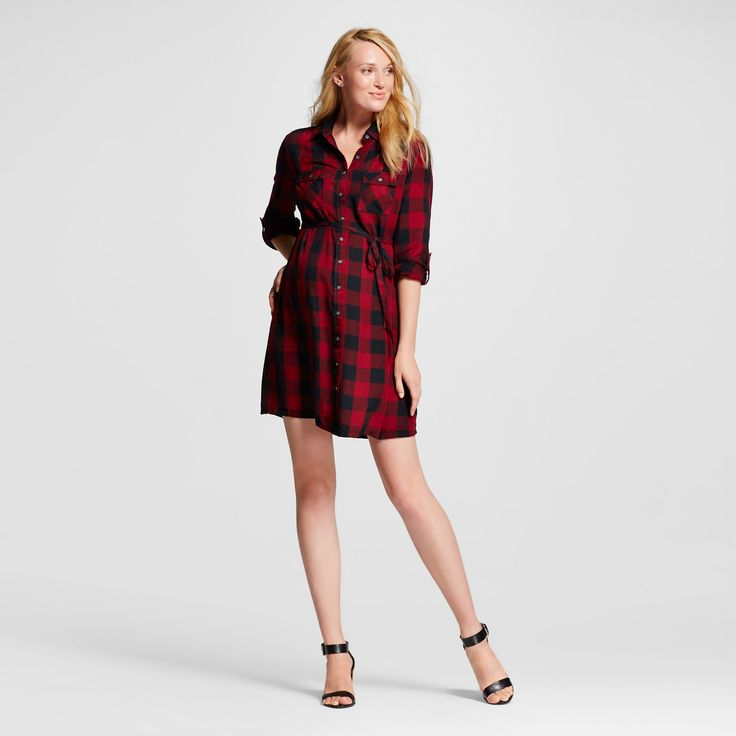 Maternity Buffalo Plaid Shirt Dress Black & Berry Plaid - M - Liz Lange for Target, Women's, Red