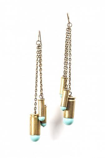 Protection Bullet Shell Tassel Earrings $45
