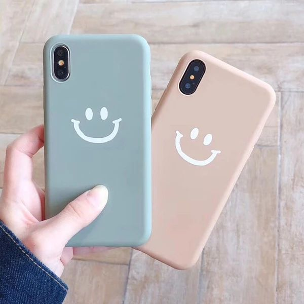 Cute Smile Expression Phone Case For iphone XR XS Max X Cartoon Couple – elega…