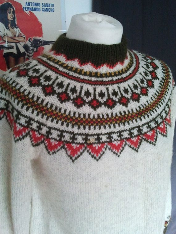 Vintage wool sweater pullover nordic by MademoiselleCecile75