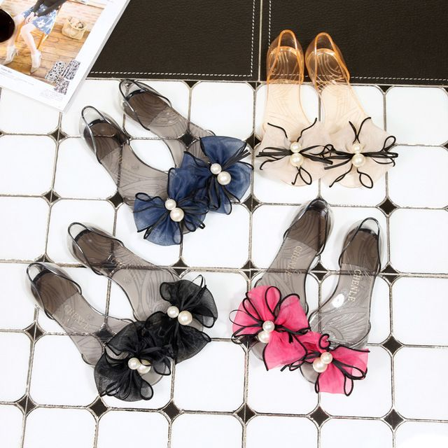 Sweet Lace Flowers Pearl Bow Sandals Plastic Jelly Transparent Beach Butterfly Knot Shoes