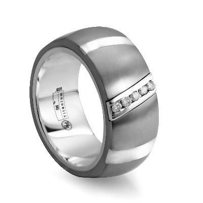 Rapture by Edward Mirell Men's 1/10 CT. T.W. Diamond Titanium and Sterling Silver Wedding Band