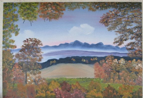 Oil Painting Handmade Window Of Trees Unique Autumn Horizon Hand Painted Landscape Farm Mountain Cottage Style Modern Art Online Buying Art