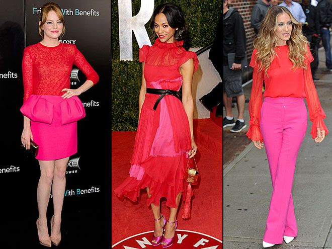 color blocking red + pink
