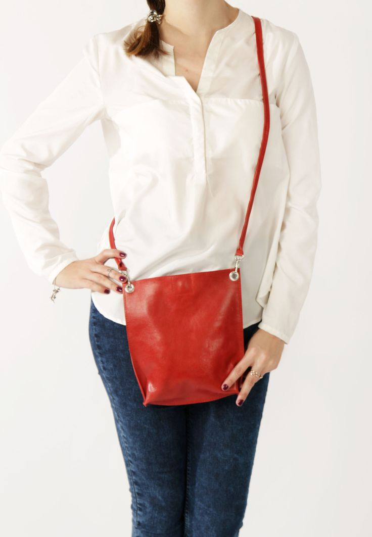 Minimalist Leather Bag by A-Rada / Small Leather Bag / Small Red Cross Body Bag / Маленькая красная сумка через плечо