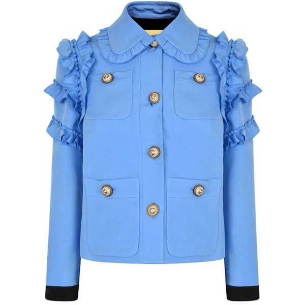 Gucci Ruffle Jacket found on Polyvore featuring outerwear, jackets, blue, gucci jacket, button jacket, ruffle jacket, blue jackets and button up jacket