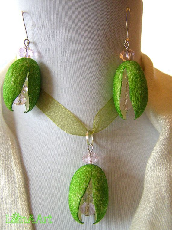 Large Green Silk Cocoon Flowers earrings & pendant by LanAArt