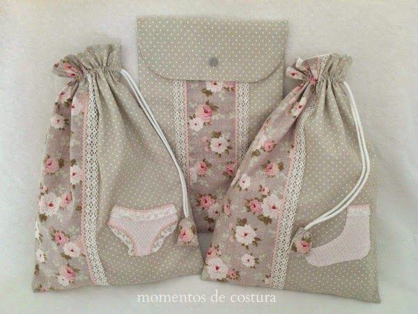 temps de couture: Ensemble de sacs en tissu