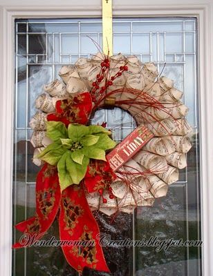 Love this paper wreath but I would worry and it getting ruined on an outside door. Maybe should hang inside the house somewhere like on a mirror