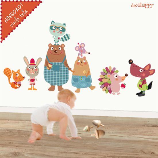 Vinilo infantil de tela animales osos for Vinilos infantiles animales
