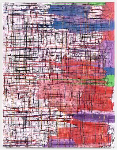 Ghada Amer  ONE NIGHT IN LONDON  2010  Acrylic, embroidery and gel medium on canvas  65 x 50 inches  165.1 x 127 centimeters