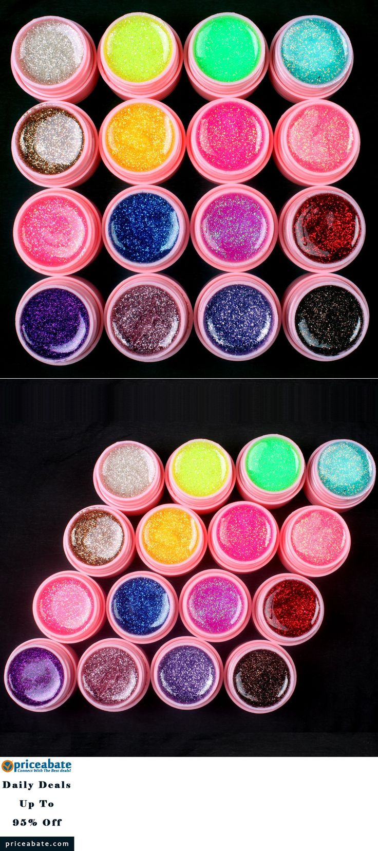 #priceabatedeals New 16 PCS Glitter Mix Color UV  Gel Acrylic Builder Set for Nail Art Tips pink - Buy This Item Now For Only: $9.11