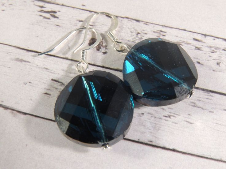 Blue faceted twisted oval crystal earrings by BeadedLoveBoutique on Etsy