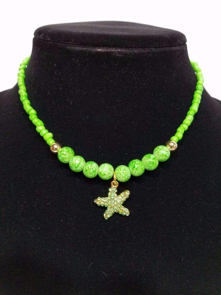 Handmade Gold Plated Green Beaded Starfish Charm Necklace #Handmade #Collar