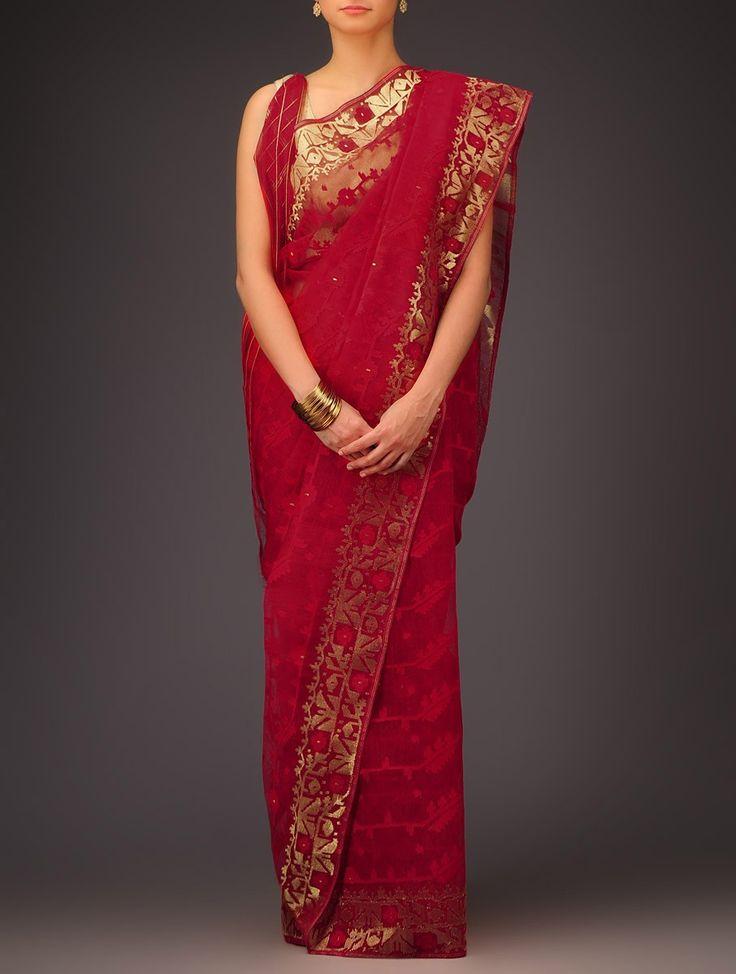 Buy Red Golden Cotton Jamdani Saree Sarees Woven Wondrous Ethereal Dhakai Online at Jaypore.com