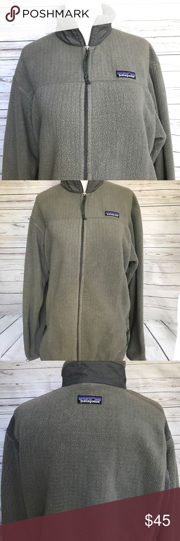 "Patagonia Polartec Green Fleece Zip Jacket L Patagonia Women's Green Fleece Polartec regulator zip up jacket size large. Smoke free home. Minor wear from wash and use. Bust - 20"" length - 25"" Patagonia Jackets & Coats"