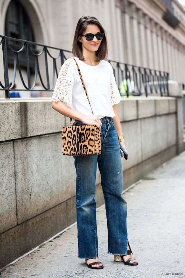 Street Style: Maria Dueñas Jacobs | Lace Tee + Leopard Bag in NYC