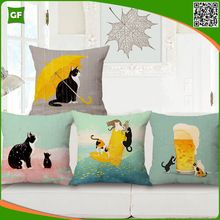 100% Poly Square Cute Cat Print Cat Cushion Pillow Cover Abstract Animal