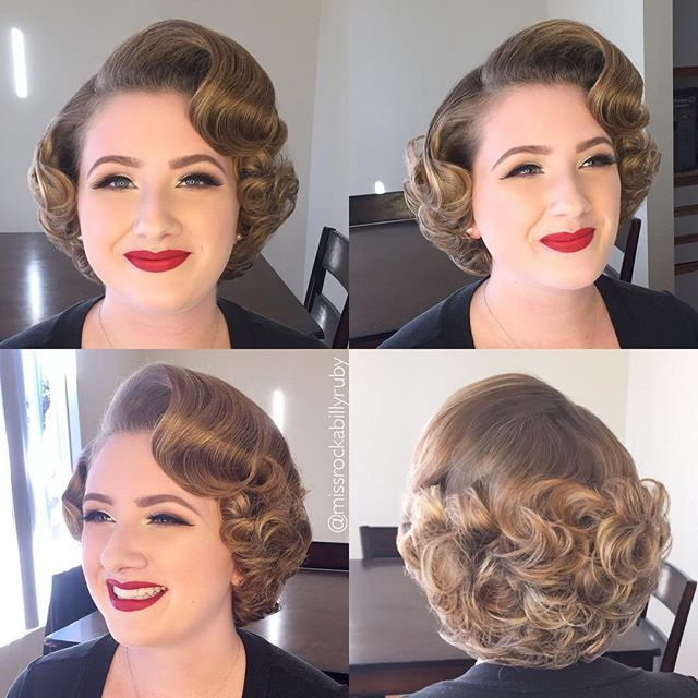 WEBSTA @ missrockabillyruby - I just got home from a very long day but I HAD to post this photo of my adorable client from today! She was going to a military ball with her husband this evening in San Diego ❤️❤️❤️ Hair and makeup by me #missrockabillyruby ❤️❤️❤️ #retro #vintagehair #vintage #pinuphair #retrohair #hairbymissruby #marilynmonroe