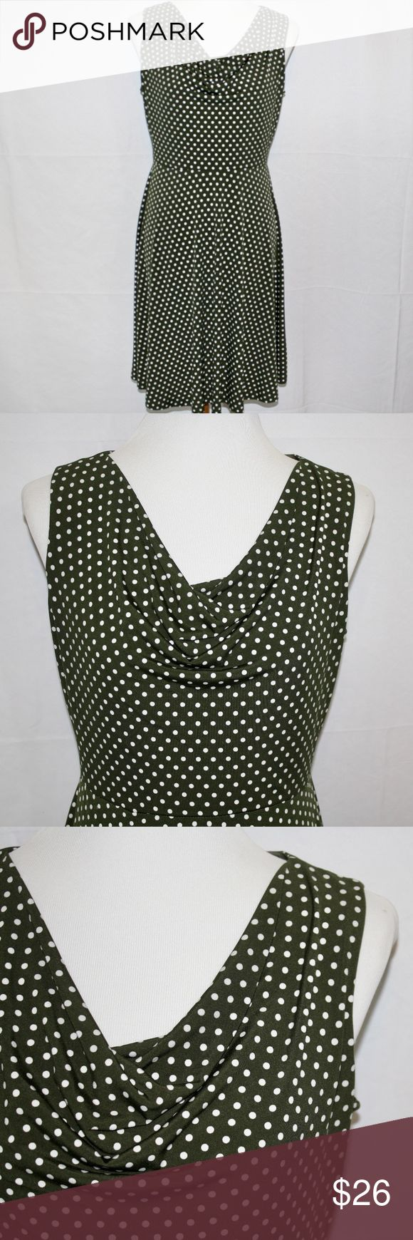 "En Focus Studio Green and White Polka Dot Dress z In excellent used condition only worm once! Moss green and white polka dot cowl neck, A-line dress. Made from 95% polyester and 5% spandex. Approximate Measurements; Length: 35"" Underarm to underarm: 17"" EnFocus Dresses"