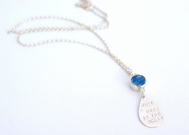 Silver and drftwood raindrop necklace 'just a drop in the ocean' £55.00