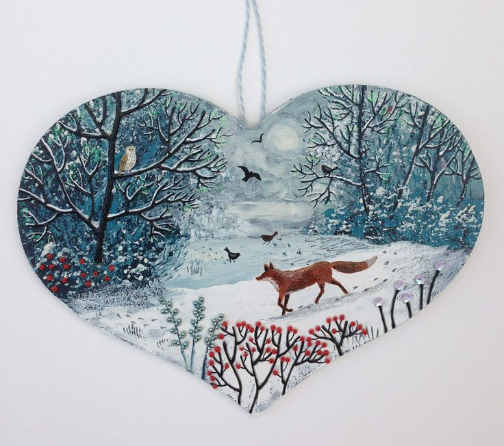 The Fox and the Owl - commissioned large heart (SOLD)