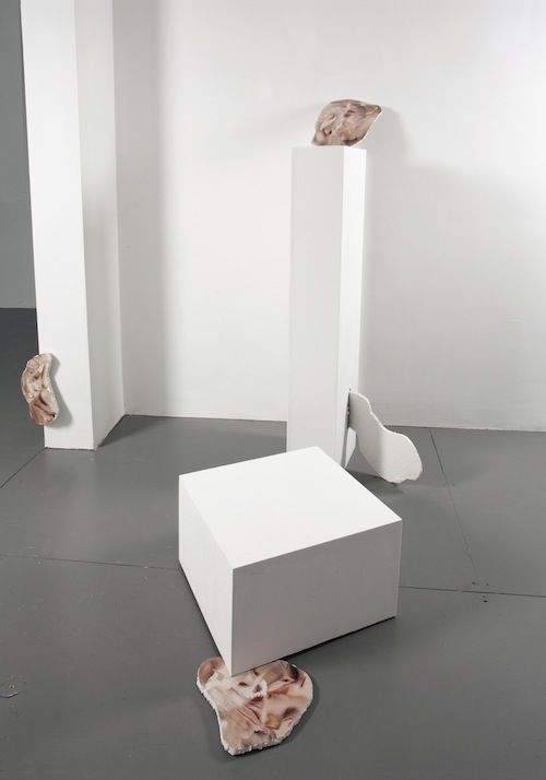 Rachel de Joode, «Folded Skins», 2013 / installation view «Surface Poetry», 2014, Boetzelaer Nispen, Amsterdam