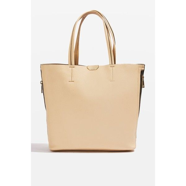 TopShop Side Zip Shopper Bag (67 CAD) ❤ liked on Polyvore featuring bags, handbags, tote bags, beige purse, beige handbags, beige tote, beige tote bag and shopping tote bags