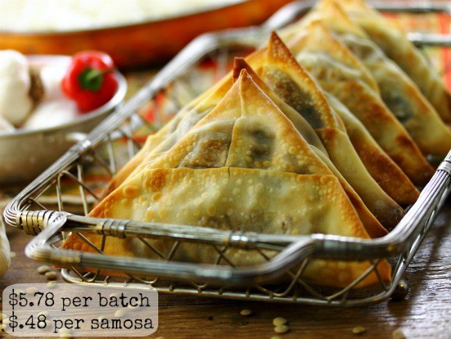 Spicy Lentil Samosas! The filling sounds so delicious!!! Would have an Awesome flavour and these are actually easy to make- great photo tutorial (also a video tutorial)! To make these vegan, simply use vegan friendly spring roll wrappers as described at the bottom of the recipe.