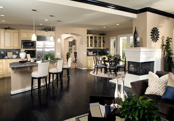 Love the black crown molding, dark floors, white baseboards, and open floorplan and the layout is perfect.