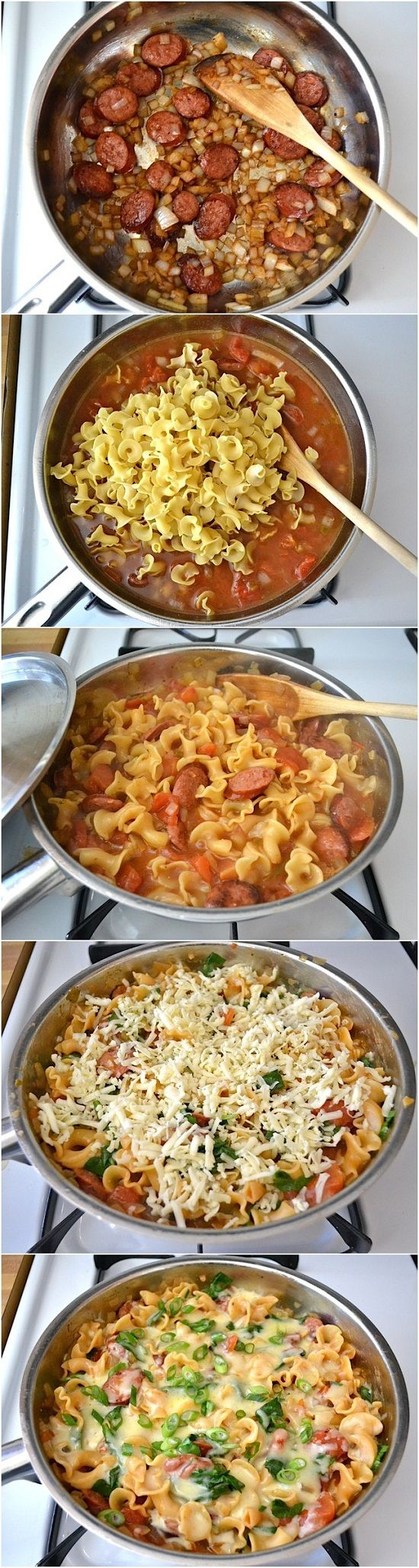 Creamy Sausage and Spinach Pasta Skillet Recipe
