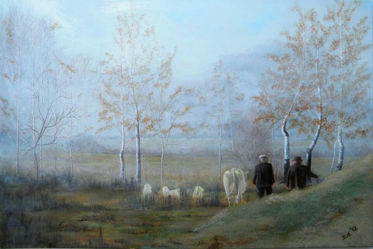 Pastoral scene anywhere in Europe, 750x1000mm, Acrylic on canvass.  Painted by Susan Brett