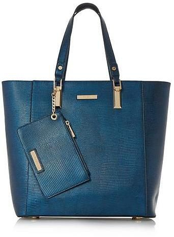 Womens petrol blue metallic oversized tote bag from Dune - £75 at ClothingByColour.com