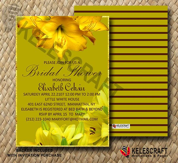 Yellow Lily Bridal Shower Invitation, Gold Frame Yellow&Brown Flowers Invite Bridesmaid Bride Shower Invitation Striped Back DiY Printable by KelesCraft on Etsy