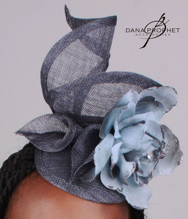 Blue Flower Sinamay Fascinator. Lovely, feminine, twirling shape accented by sinamay lilies and a large flower.https://danaprophetaccessories.com/fascinators/blue-flower-sinamay-fascinator-2/  #hat #fascinator #weddings #bridal #veil #bridesmaids #flower #blue #lillies #sinamay