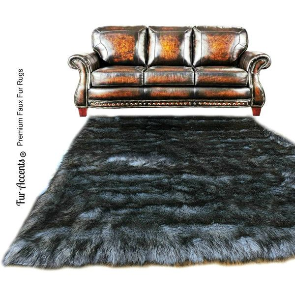 Shaggy Gray Wolf Pelt Rug Premium Faux Fur Thick Gray With Black Tips... ($120) ❤ liked on Polyvore featuring home, rugs, floor & rugs, grey, home & living, gray shag area rug, grey rug, grey shag rug, faux fur area rug and grey shag area rug
