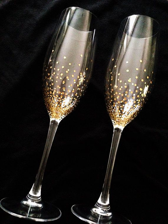 Champagne Wedding Flutes  Set of 2  Wedding glasses  by Adeleart