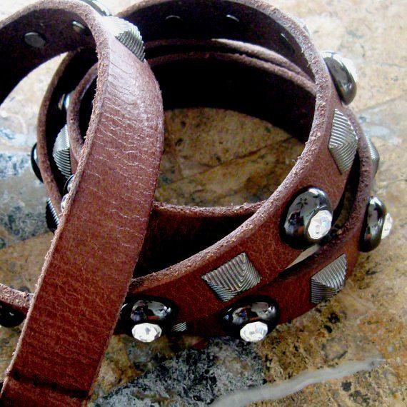 Vintage Leather Belt Rhinestones Bling Metal Squares Brown