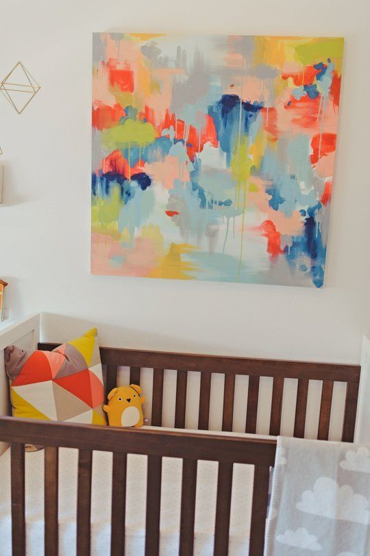 You are never too young for abstract art!  Sloan's Bright White Nursery with a Slice of Melon