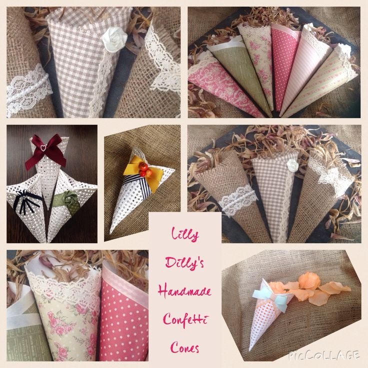 Lilly Dilly's handmade bespoke confetti cones #wedding #confetti #vintage #lace #fabric #card #weaves #floral #stripe #polkadots #hessian #burlap